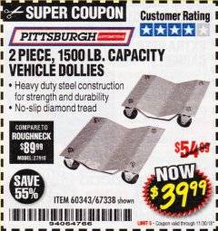 Harbor Freight Coupon 2 PIECE 1500 LB. CAPACITY VEHICLE WHEEL DOLLIES Lot No. 60343/67338 Expired: 11/30/18 - $39.99