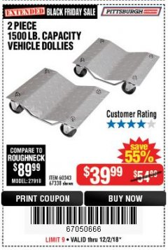 Harbor Freight Coupon 2 PIECE 1500 LB. CAPACITY VEHICLE WHEEL DOLLIES Lot No. 60343/67338 Expired: 12/2/18 - $39.99