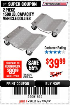 Harbor Freight Coupon 2 PIECE 1500 LB. CAPACITY VEHICLE WHEEL DOLLIES Lot No. 60343/67338 Expired: 2/24/19 - $39.99