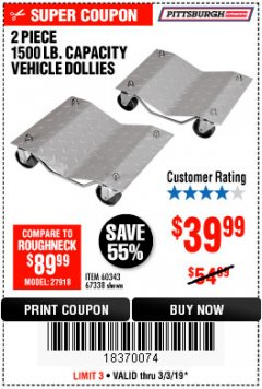 Harbor Freight Coupon 2 PIECE 1500 LB. CAPACITY VEHICLE WHEEL DOLLIES Lot No. 60343/67338 Expired: 3/3/19 - $39.99