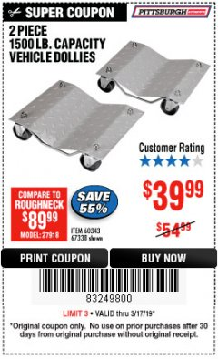 Harbor Freight Coupon 2 PIECE 1500 LB. CAPACITY VEHICLE WHEEL DOLLIES Lot No. 60343/67338 Expired: 3/17/19 - $39.99