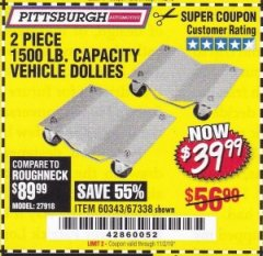 Harbor Freight Coupon 2 PIECE 1500 LB. CAPACITY VEHICLE WHEEL DOLLIES Lot No. 60343/67338 Valid Thru: 11/2/19 - $39.99