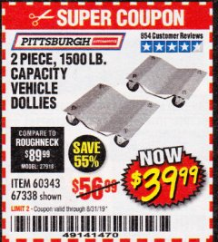 Harbor Freight Coupon 2 PIECE 1500 LB. CAPACITY VEHICLE WHEEL DOLLIES Lot No. 60343/67338 Expired: 8/31/19 - $39.99