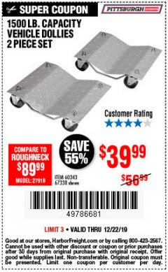 Harbor Freight Coupon 2 PIECE 1500 LB. CAPACITY VEHICLE WHEEL DOLLIES Lot No. 60343/67338 Expired: 12/22/19 - $39.99