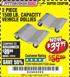 Harbor Freight Coupon 2 PIECE 1500 LB. CAPACITY VEHICLE WHEEL DOLLIES Lot No. 60343/67338 Expired: 1/27/20 - $39.99