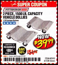 Harbor Freight Coupon 2 PIECE 1500 LB. CAPACITY VEHICLE WHEEL DOLLIES Lot No. 60343/67338 Expired: 3/31/20 - $39.99