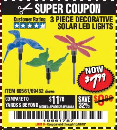 Harbor Freight Coupon 3 PIECE SOLAR DECORATIVE LED LIGHTS Lot No. 60561/69462/95588 Expired: 10/18/18 - $7.99