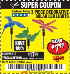 Harbor Freight Coupon 3 PIECE SOLAR DECORATIVE LED LIGHTS Lot No. 60561/69462/95588 Expired: 11/10/18 - $7.99