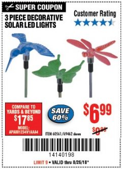 Harbor Freight Coupon 3 PIECE SOLAR DECORATIVE LED LIGHTS Lot No. 60561/69462/95588 Expired: 8/26/18 - $6.99