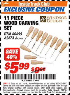 Harbor Freight ITC Coupon 11 PIECE WOOD CARVING SET Lot No. 62673/60655 Expired: 7/31/18 - $5.99