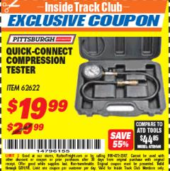 Harbor Freight ITC Coupon QUICK CONNECT COMPRESSION TESTER Lot No. 62622/95187 Expired: 5/31/18 - $19.99