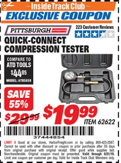 Harbor Freight ITC Coupon QUICK CONNECT COMPRESSION TESTER Lot No. 62622/95187 Expired: 8/31/19 - $19.99