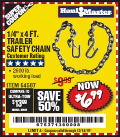"Harbor Freight Coupon 1/4"" X 4 FT. TRAILER SAFETY CHAIN Lot No. 64507 Valid Thru: 12/14/19 - $6.99"