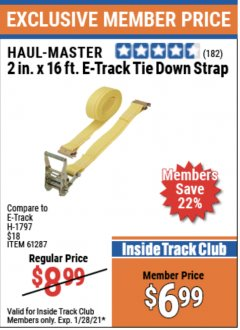 "Harbor Freight ITC Coupon 2"" X 16 FT. E-TRACK TIE DOWN STRAP Lot No. 62758/61287/66727 Valid Thru: 1/28/21 - $6.99"