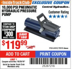 Harbor Freight ITC Coupon 10,000 PSI PNEUMATIC HYDRAULIC PRESSURE PUMP Lot No. 98318 Expired: 10/29/19 - $119.99