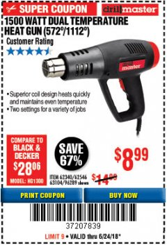 Harbor Freight Coupon 1500 WATT DUAL TEMPERATURE HEAT GUN (572/1112) Lot No. 96289/62340/62546 Expired: 6/24/18 - $8.99