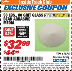 Harbor Freight ITC Coupon 50 LBS. GLASS BEAD 80 GRIT ABRASIVE MEDIA Lot No. 30972/61874 Expired: 10/31/18 - $32.99