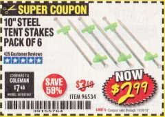 "Harbor Freight Coupon 10"" STEEL TENT STAKES PACK OF 6 Lot No. 96534 Expired: 11/30/19 - $2.99"