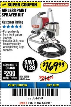 Harbor Freight Coupon AIRLESS PAINT SPRAYER KIT Lot No. 62915/60600 Expired: 5/31/18 - $169.99