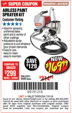 Harbor Freight Coupon AIRLESS PAINT SPRAYER KIT Lot No. 62915/60600 Expired: 7/31/18 - $169.99