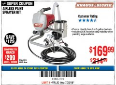 Harbor Freight Coupon AIRLESS PAINT SPRAYER KIT Lot No. 62915/60600 Expired: 7/22/18 - $169.99