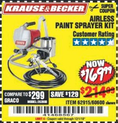 Harbor Freight Coupon AIRLESS PAINT SPRAYER KIT Lot No. 62915/60600 Expired: 12/1/18 - $169.99