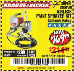Harbor Freight Coupon AIRLESS PAINT SPRAYER KIT Lot No. 62915/60600 Expired: 11/3/18 - $169.99