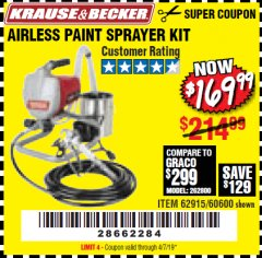 Harbor Freight Coupon AIRLESS PAINT SPRAYER KIT Lot No. 62915/60600 Valid Thru: 4/7/19 - $169.99