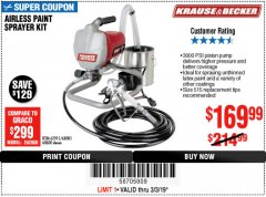 Harbor Freight Coupon AIRLESS PAINT SPRAYER KIT Lot No. 62915/60600 Expired: 3/3/19 - $169.99