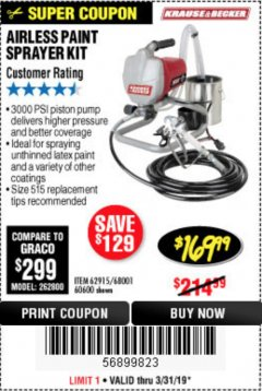 Harbor Freight Coupon AIRLESS PAINT SPRAYER KIT Lot No. 62915/60600 Expired: 3/31/19 - $169.99