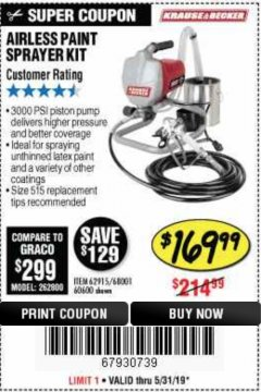 Harbor Freight Coupon AIRLESS PAINT SPRAYER KIT Lot No. 62915/60600 Valid Thru: 5/31/19 - $169.99