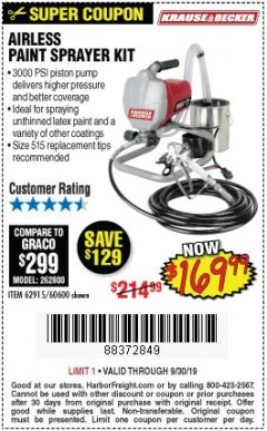 Harbor Freight Coupon AIRLESS PAINT SPRAYER KIT Lot No. 62915/60600 Valid Thru: 9/30/19 - $169.99