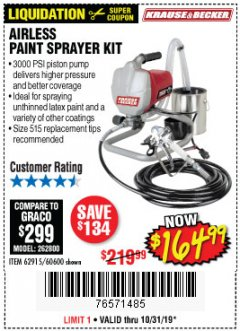 Harbor Freight Coupon AIRLESS PAINT SPRAYER KIT Lot No. 62915/60600 Valid Thru: 10/31/19 - $164.99