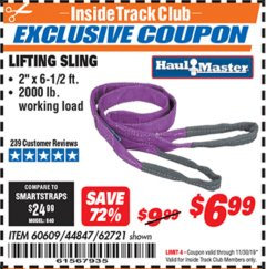 "Harbor Freight ITC Coupon 2 X 6-1/2"" FT. LIFTING SLING Lot No. 60609/62721/44847 Expired: 11/30/19 - $6.99"