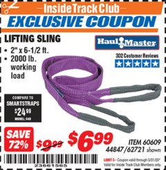 "Harbor Freight ITC Coupon 2 X 6-1/2"" FT. LIFTING SLING Lot No. 60609/62721/44847 Expired: 3/31/20 - $6.99"