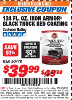 Harbor Freight ITC Coupon 124 OZ. IRON ARMOR BLACK TRUCK BED COATING Lot No. 60778 Expired: 10/31/18 - $39.99