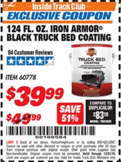 Harbor Freight ITC Coupon 124 OZ. IRON ARMOR BLACK TRUCK BED COATING Lot No. 60778 Valid Thru: 12/31/18 - $39.99