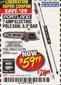 Harbor Freight Coupon 7 AMP 1.5 HP ELECTRIC POLE SAW Lot No. 56808/68862/63190/62896 Expired: 5/31/19 - $59.99