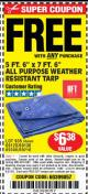 "Harbor Freight FREE Coupon 5 FT. 6"" X 7 FT. 6"" ALL PURPOSE WEATHER RESISTANT TARP Lot No. 953/63110/69210/69128/69136/69248 Expired: 4/27/16 - FWP"