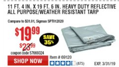 "Harbor Freight Coupon 5 FT. 6"" X 7 FT. 6"" ALL PURPOSE WEATHER RESISTANT TARP Lot No. 953/63110/69210/69128/69136/69248 Expired: 3/31/19 - $19.99"
