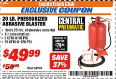 Harbor Freight ITC Coupon 20 LB. PRESSURIZED ABRASIVE BLASTER Lot No. 68994 Expired: 8/31/18 - $49.99