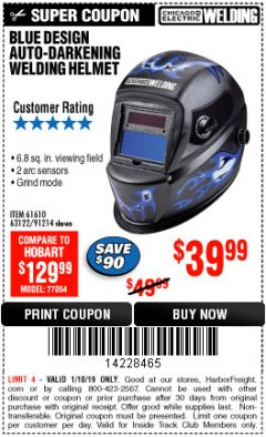 Harbor Freight ITC Coupon AUTO-DARKENING WELDING HELMET WITH BLUE FLAME DESIGN Lot No. 91214/61610/63122 Expired: 1/10/19 - $39.99