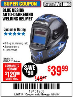 Harbor Freight Coupon AUTO-DARKENING WELDING HELMET WITH BLUE FLAME DESIGN Lot No. 91214/61610/63122 Expired: 1/14/19 - $39.99