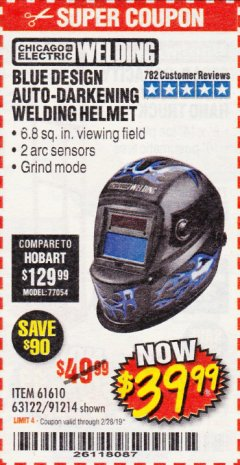 Harbor Freight Coupon AUTO-DARKENING WELDING HELMET WITH BLUE FLAME DESIGN Lot No. 91214/61610/63122 EXPIRES: 2/28/19 - $39.99