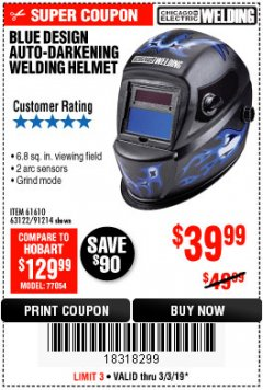 Harbor Freight Coupon AUTO-DARKENING WELDING HELMET WITH BLUE FLAME DESIGN Lot No. 91214/61610/63122 Expired: 3/3/19 - $39.99
