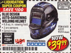 Harbor Freight Coupon AUTO-DARKENING WELDING HELMET WITH BLUE FLAME DESIGN Lot No. 91214/61610/63122 Valid Thru: 5/31/19 - $39.99