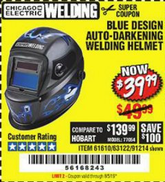 Harbor Freight Coupon AUTO-DARKENING WELDING HELMET WITH BLUE FLAME DESIGN Lot No. 91214/61610/63122 Valid Thru: 8/5/19 - $39.99