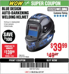 Harbor Freight Coupon AUTO-DARKENING WELDING HELMET WITH BLUE FLAME DESIGN Lot No. 91214/61610/63122 Expired: 4/21/19 - $39.99
