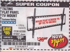 Harbor Freight Coupon TILTING FLAT PANEL TV MOUNT Lot No. 62289/61807 Expired: 10/24/18 - $14.99