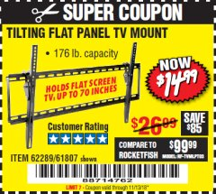 Harbor Freight Coupon TILTING FLAT PANEL TV MOUNT Lot No. 62289/61807 Expired: 11/13/18 - $14.99